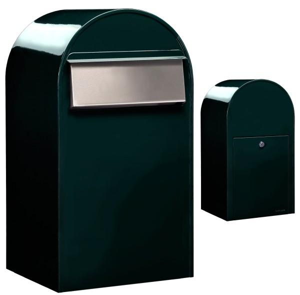 Durchwurfbriefkasten / Zaunbriefkasten Bobi Grande B Schwarzgrün