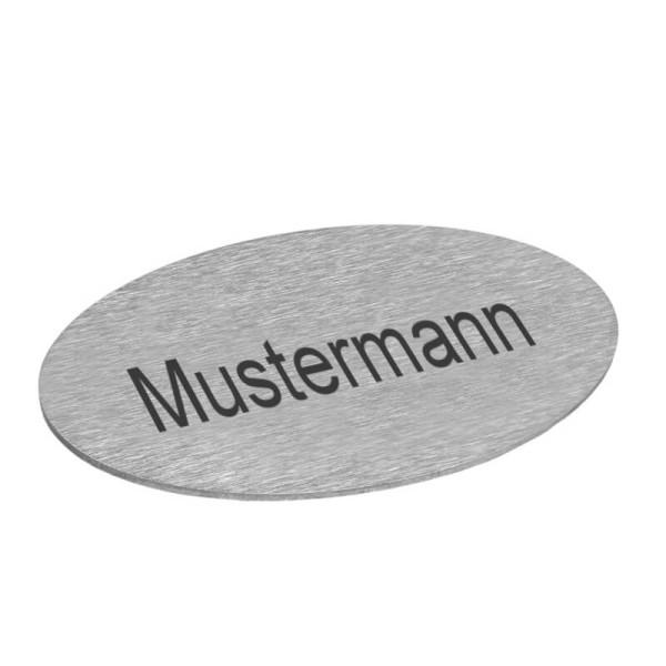 ovales Namensschild aus Edelstahl für Bobi Briefkästen