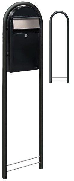 Bobi Briefkasten Grande S Strukturschwarz als Standbriefkasten mit Bobi Round in Strukturschwarz