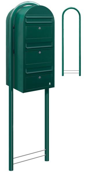Briefkasten Bobi Trio Grün als Standbriefkasten mit Bobi Round