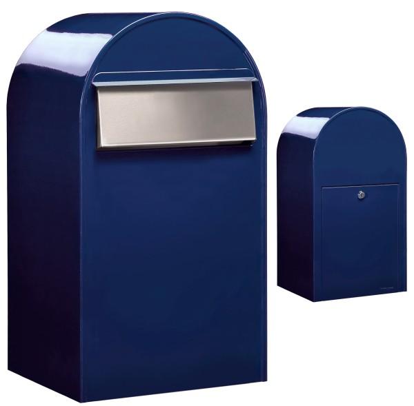 Briefkasten mit Edelstahlklappe - Bobi Grande B in Blau
