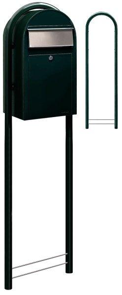 Briefkasten Bobi Grande Schwarzgrün als Standbriefkasten mit Bobi Round