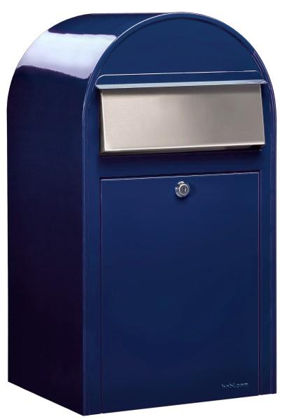 Bobi Grande Briefkasten in Blau mit Edelstahlklappe