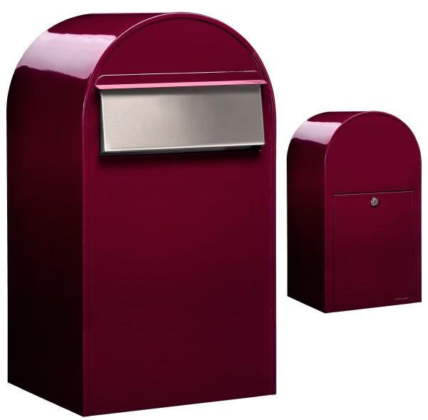 Briefkasten Bobi Grande B Bordeaux mit Edelstahl-Einwurfklappe