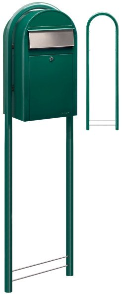 Standbriefkasten Bobi Grande mit Round Briefkastenständer Grün